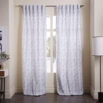 Cotton canvas vine leaves curtain in ash blue from £39.00 - West Elm