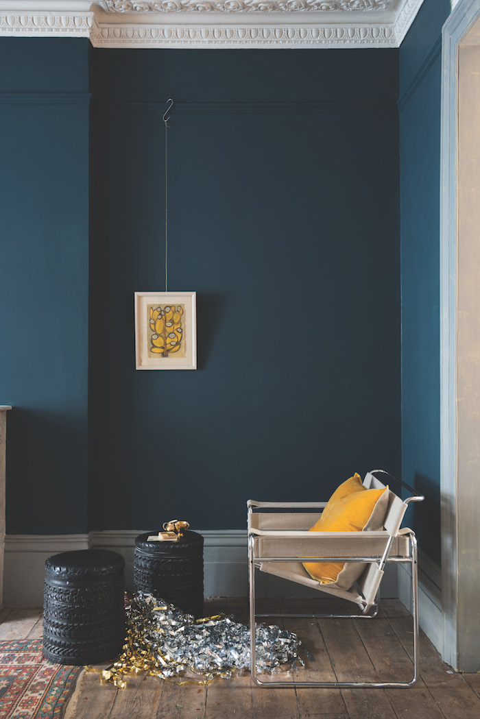 Festive Hague Blue living room by Farrow & Ball