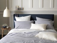 Coastal stripe navy percale bedding set £43.50 - The Secret Linen Store