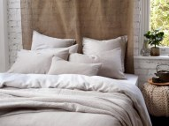 Relaxed denim natural linen bedding £65.00 - The Secret Linen Store