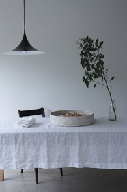 White linen tablecloth and napkins from ALSO Home Ltd