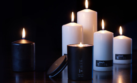Simply black and white pillar candles from Buckley & Phillips Aromatics