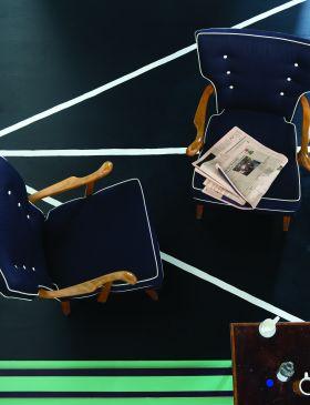 Farrow & Ball floor paint in Black Blue, All White, Arsenic and Pelt