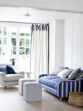 Ian Mankin: Sofa in Oxford Stripe Navy £29.50 per metre, Armchair in Ticking Navy £24.50 per metre, Curtains in Grain Stripe Union Navy £39.50
