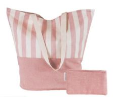 Ian Mankin: Beach Bag in Norfolk Stripe Pink, £39.50