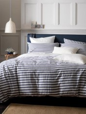 Coastal stripe navy percale bedding, prices starting at £9.00 from The Secret Linen Store