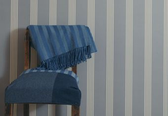 Ian Mankin, Wallcovering in Oxford Stripe Indigo, £49.50 per roll