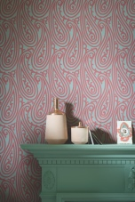 Farrow & Ball Paisley BP 4707 wallpaper with woodwork in Arsenic® No.214