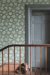 Farrow & Ball Shouchikubai BP 4505 wallpaper with woodwork in Down Pipe® No.26