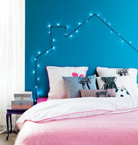 DIY string light headboard on Apartment Therapy