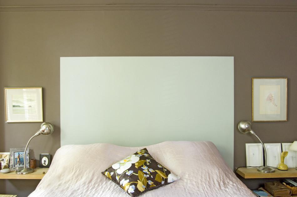 No headboard no problem feioi for Painted headboard on wall