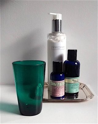 Silver tray and glass from The Hive featured in bathroom photo shoot