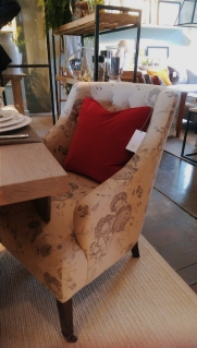Amelia armchair upholstered in Emma Dove printed linen