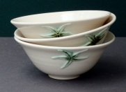 Three beautiful bowls thrown in porcelain, hand decorated with a starfish design by A Drop Of The Ocean