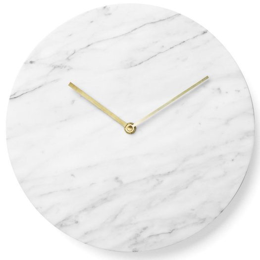 Menu marble wall clock in white from Black By Design Ltd