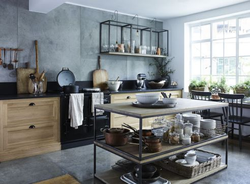 Image courtesy of Neptune featuring the Henley Oak Kitchen (from £13,000) and two Carter large coffee tables (£990 each) stacked to create a kitchen island