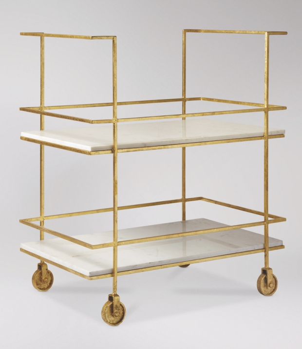 Edina bar trolley in marble and gold leaf from Swoon Editions
