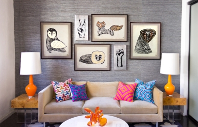 Menagerie wall prints £995.00 and Jaipur cushions from £185.00, all Jonathan Adler