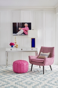 Mrs Godfrey chair in Vapor Berry Geometric £2,395.00, Channing three-drawer console £1,850.00, Moroccan pouf in fuchsia £1,095.00 - all Jonathan Adler