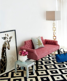 Regent bench sofa (£1,750.00) and Gio rug (£2,750.00) from Jonathan Adler
