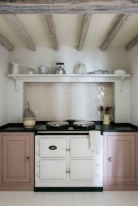 Kitchen cabinets painted in Myland's Eccleston Pink