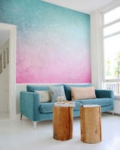 PIXERS Pink & Blue wall mural
