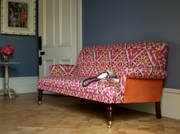 Midhurst sofa in Manuel Canovas Boheme Rose and Orange ikat, £1,184.00 from Sofas & Stuff