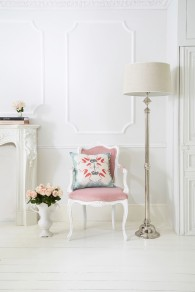 The Duchess pink chair (£420.00) with Savile Row lamp (£299.00) from The French Bedroom Co.