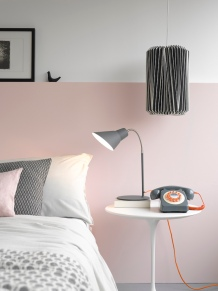 Wild Wood – Cumulus lampshade £47.95, Gooseneck lamp £59.95, 746 phone £49.95, all in concrete grey from Wild & Wolf