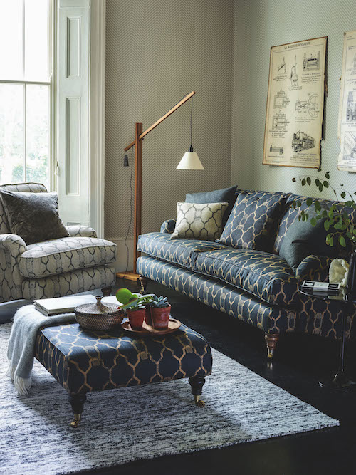 sofa.com with Barneby Gates - Bluebell three seat sofa in Owl linen, Bluebell armchair in Owl woven, Ottoman footstool in Owl linen