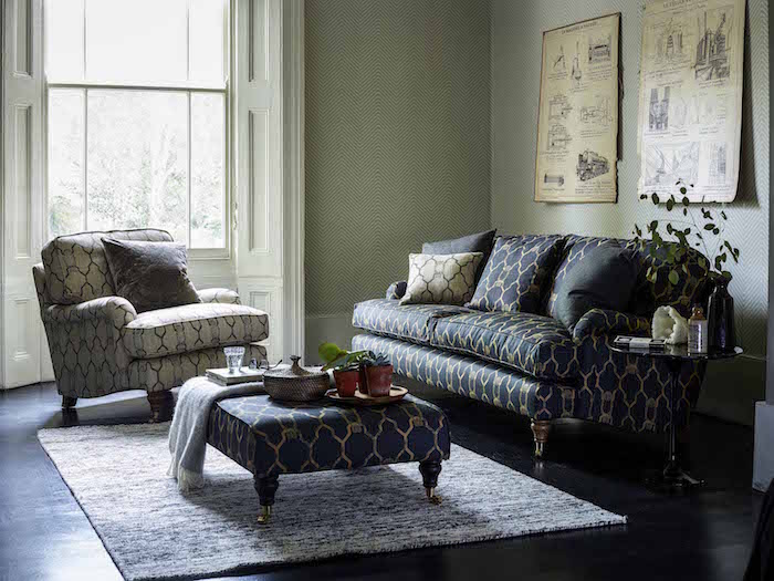 sofa.com with Barneby Gates Bluebell three seat sofa in Owl linen, Bluebell armchair in Owl woven, Ottoman footstool in Owl linen