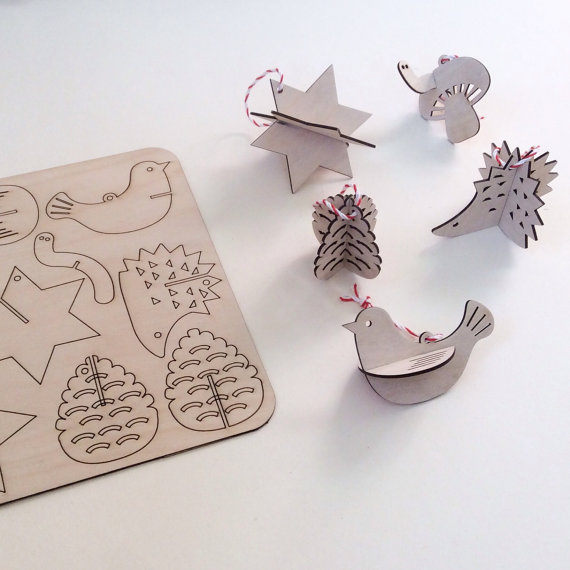 Set of 5 flat pack wooden ornaments by MilkyWood from Etsy