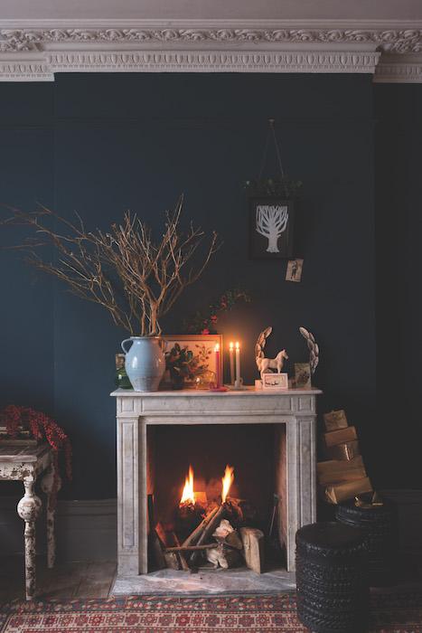 Farrow & Ball festive Hague Blue fireplace