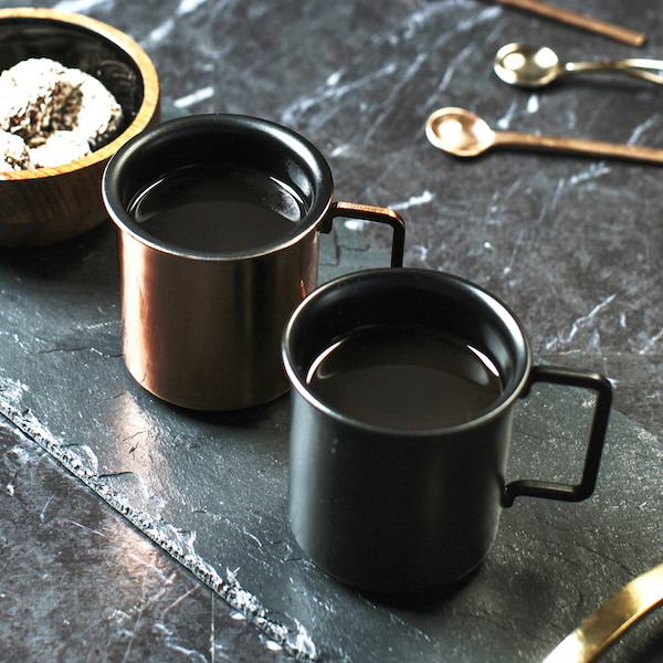 MiaFleur copper and black espresso cups